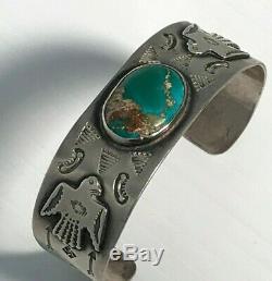 Au Début Du 20e Siècle Navajo Dyer Bleu Turquoise Cuff Bracelet Homme 32 Grammes