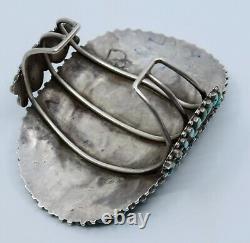 Au Début Énorme Groupe Petit Point Amérindien Zuni Bracelet Manchette Turquoise
