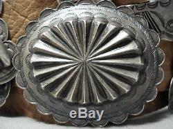 Au Début Forgée Main En Argent Sterling Vintage Navajo Concho Ceinture Vieux