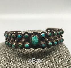 Au Début Ih Native American Coin Argent Turquoise Bracelet 18,2 G Indien Fait À La Main
