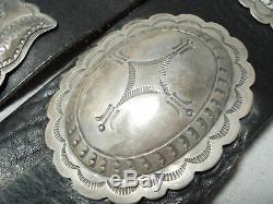 Au Début Lourd Vintage Navajo Main Tooled En Argent Sterling Concho Ceinture Vieux