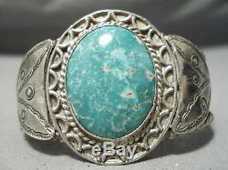 Au Début Musée Vintage Navajo Carico Lac Turquoise Bracelet En Argent Sterling Vieux