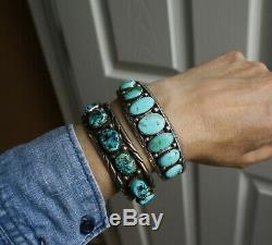 Au Début Navajo Amérindien Turquoise En Argent Sterling Bracelet C. 1920