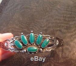 Au Début Navajo Amérindien Turquoise Thunderbird Bracelet En Argent Sterling