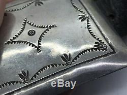 Au Début Navajo Coin Lingot Argent Lourd Main Tooled Concho Link Belt & Buckle 580g