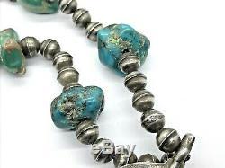 Au Début Navajo En Argent Sterling Banc Perle Turquoise Naja Squash Blossom Collier