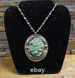 Au Début Navajo Kingman Écume Turquoise Collier Squash Blossom Old Pawn
