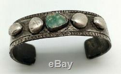 Au Début Navajo Lingot Bracelet En Argent, Brut, Turquoise Naturel, Grande