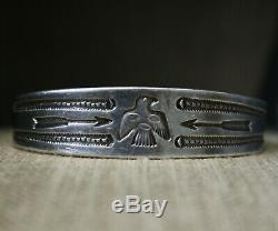 Au Début Navajo Native American Thunderbird Lingot Argent Bracelet