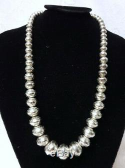 Au Début Navajo Perles Amérindien En Argent Sterling Stamped Collier De Perles 24l