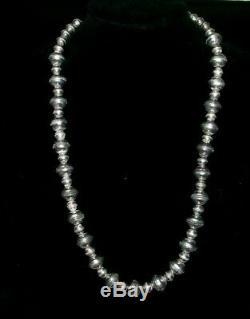 Au Début Navajo Sterling Perle Perles Banc Gradué Squash Blossom Collier 65 G