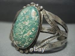 Au Début Navajo Vintage Cerrillos 1900 Turquoise Setrling Bracelet En Argent