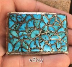 Au Début Old Dishta Zuni En Argent Sterling Turquoise Flush Inlay Boucle De Ceinture