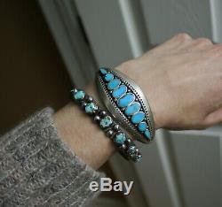Au Début Turquoise Navajo Native American Lingot Argent Bracelet C. 1930
