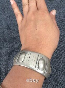 Au Début Vieux Pion Amérindien Navajo Argent Lingot Timbre Bracelet Manchette