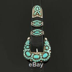 Au Début Vtg Virgil Dishta Zuni Amérindien Turquoise Sterling Silver Belt Set