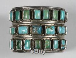 Au Début Zuni Pueblo Argent Et Turquoise Bracelet-31 Pierres-autochtones Coupées À La Main Américaine