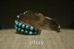 Au Début Zuni Vintage Amérindien Turquoise Lingot En Argent Sterling Bracelet