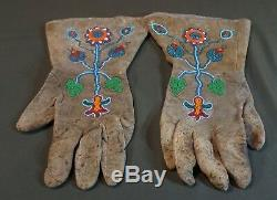 Belle Paire De Début 1900 Plateau Native American Gants Perlés Umatilla Yakama