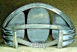 Big Early Old Pawn Navajo En Argent Sterling Dramatique Bois Pétrifié Bracelet