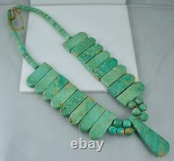 Big Early Santo Domingo Heishi Turquoise Native American Collier Pawn Vintage 3