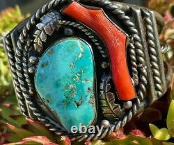 Bold Early Old Pawn Turquoise & Coral Amérindian Bracelet Rope Leaves Cuff