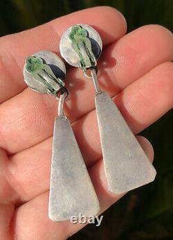 Boucles D'oreilles Zuni Sunface Sterling Silver Turquoise & Coral & Jet Mop Dangle