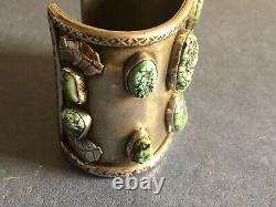 Bracelet Antique En Argent Navajo Avec Des Pépites Turquoise Et Or