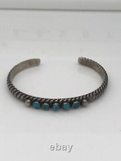 Bracelet De Manchette En Argent Sterling Amérindien Early Ingot