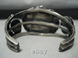 Bracelet En Argent Sterling Navajo Royston Ancien Et Épais