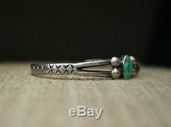 Bracelet Manchette Vintage Début Navajo En Argent Sterling Turquoise, Bébé, Enfant