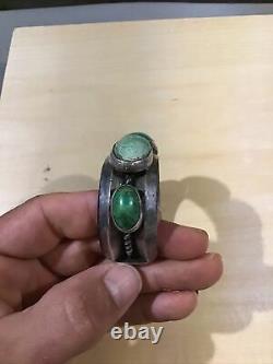 Bracelet Navajo Cuff Lourd Argent Vert Pâle Turquoise Linge De Pion Ancien Vtg