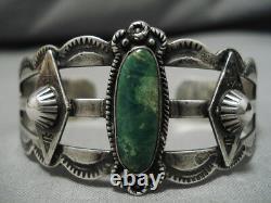 Bracelet Navajo Vintage Début Des Années 1900 Sterling Silver Cerrillos Turquoise