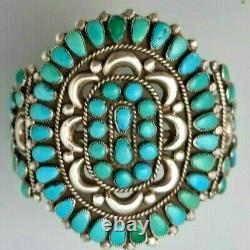 Bracelet Vintage Early Sterling Silver Et Turquoise Petite Point Cluster Cuff