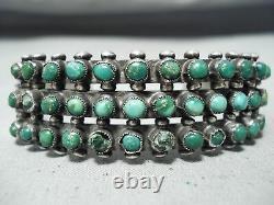 Bracelet Vintage Navajo Snake Eyes Turquoise Sterling Silver Du Début Des Années 1900