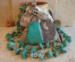 Buffalo Hunter' Huge Early Dan Nieto Turquoise Pendentif Sterling Collier 237 Gr