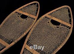 Chaussures Antique Neige En Bois Super Tôt Primitive Felt Rouge Amérindien
