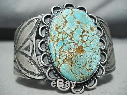 Colossal Early Vintage Navajo # 8 Turquoise Bracelet En Argent Sterling