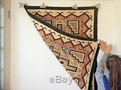 Cristal Navajo Tapis Blanket Native American Old Early
