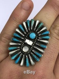 Début 1 5/8 Zuni En Argent Sterling Needlepoint Turquoise Et Mère De Pearl Ring