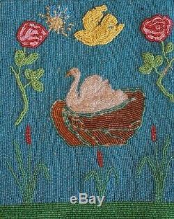 Début 1900 1910 Plateau Amérindien Sac Perlé White Swan & Bird