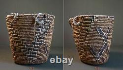 Début 1900 Amérindienne Nw Imbriquée Klickitat Huckleberry Basket Fez Design