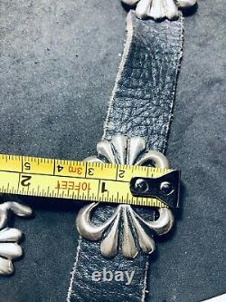 Début 1900 Antique Sand Cast Sterling Silver Native American Indian Concha Belt