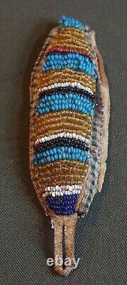 Début 1900 Native American Blackfoot Flathead Beaded Drop