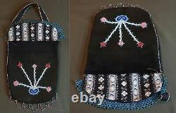 Début 1900 Native American Plains Crow Flathead Contour Sac Perlé