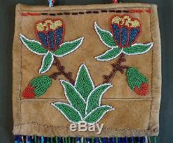 Début 1900 Plateau Belle Amérindien 2 Faces Entièrement Sac Perlé Avec Gouttes