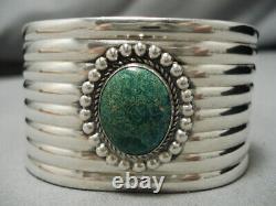 Début 1900 Vintage Navajo Cerrillos Turquoise Sterling Silver Cuff Bracelet