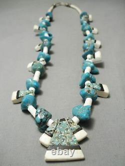 Début 1900 Vintage Santo Domingo Turquoise Inlay Sterling Silver Collier Vieux