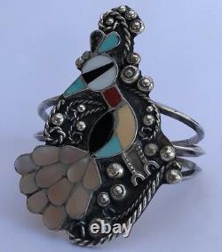 Début 3 Zuni Navajo Sterling Silver & Multi Mosaic Stone Inlay Peacock Bracelet