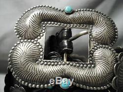Début Argent Sterling Très Détaillée Turquoise Concho Ceinture Vieux